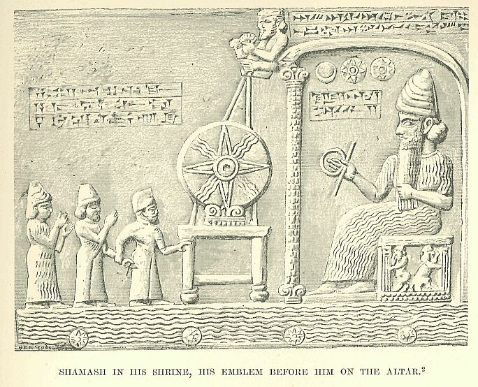 Image: Shamash in his shrine, his emblem before him on the altar